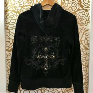 BCBGMaxAzria Black Zip Up Stud Embellished Hoodie